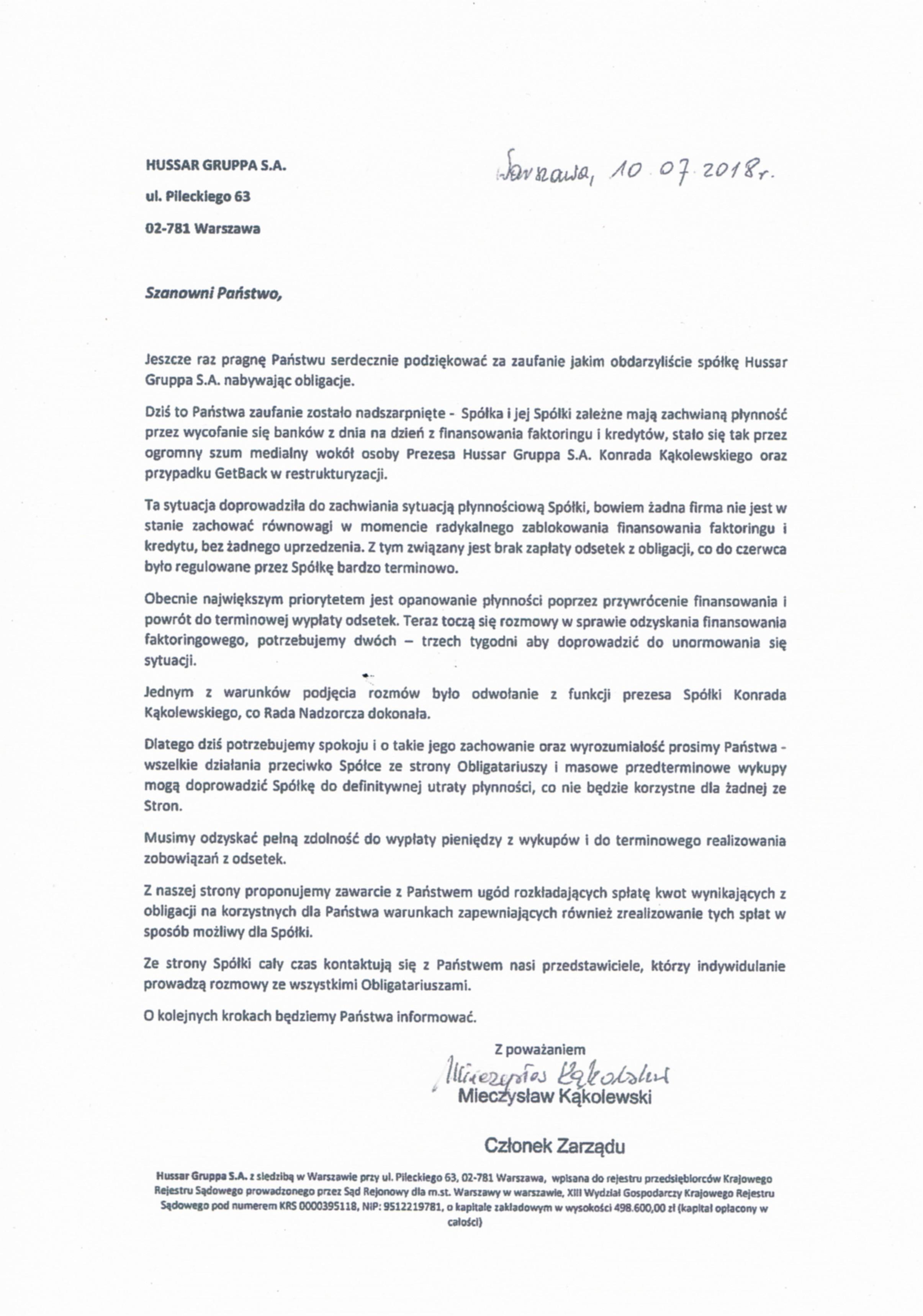 pismo do obligatariuszy